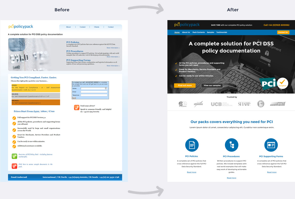 Before and after designs