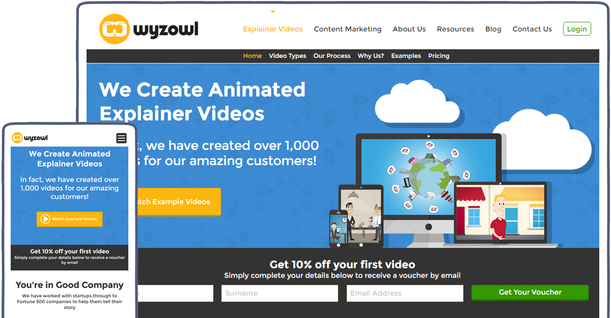 Wyzowl desktop and mobile designs